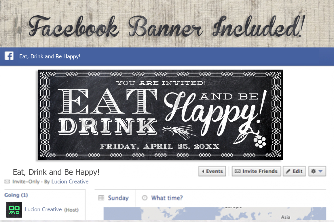Eat Drink Be Happy Chalk Invite example image 3