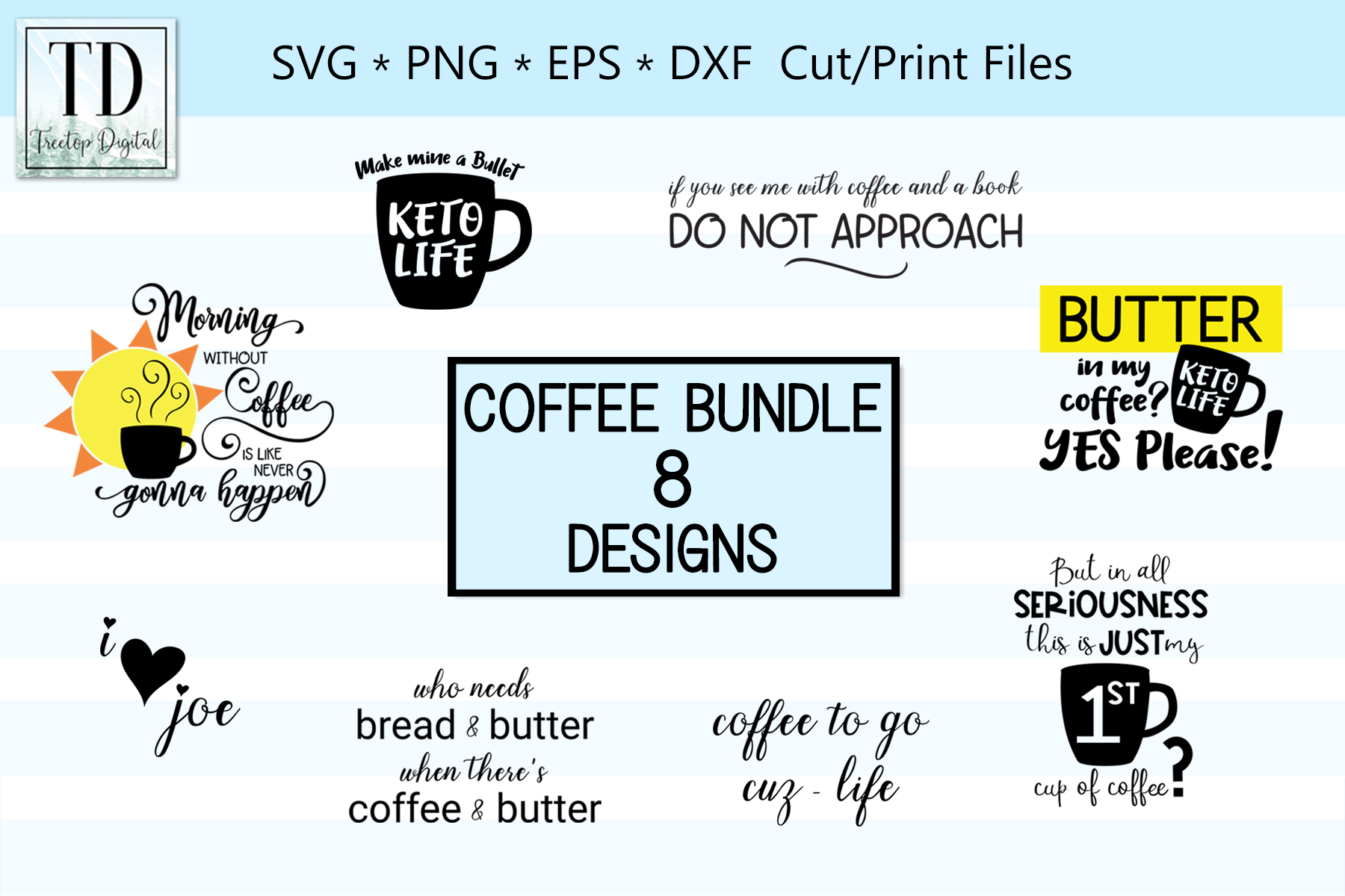 Coffee Designs for Cutting and Printing, A Coffee SVG Bundle example image 1