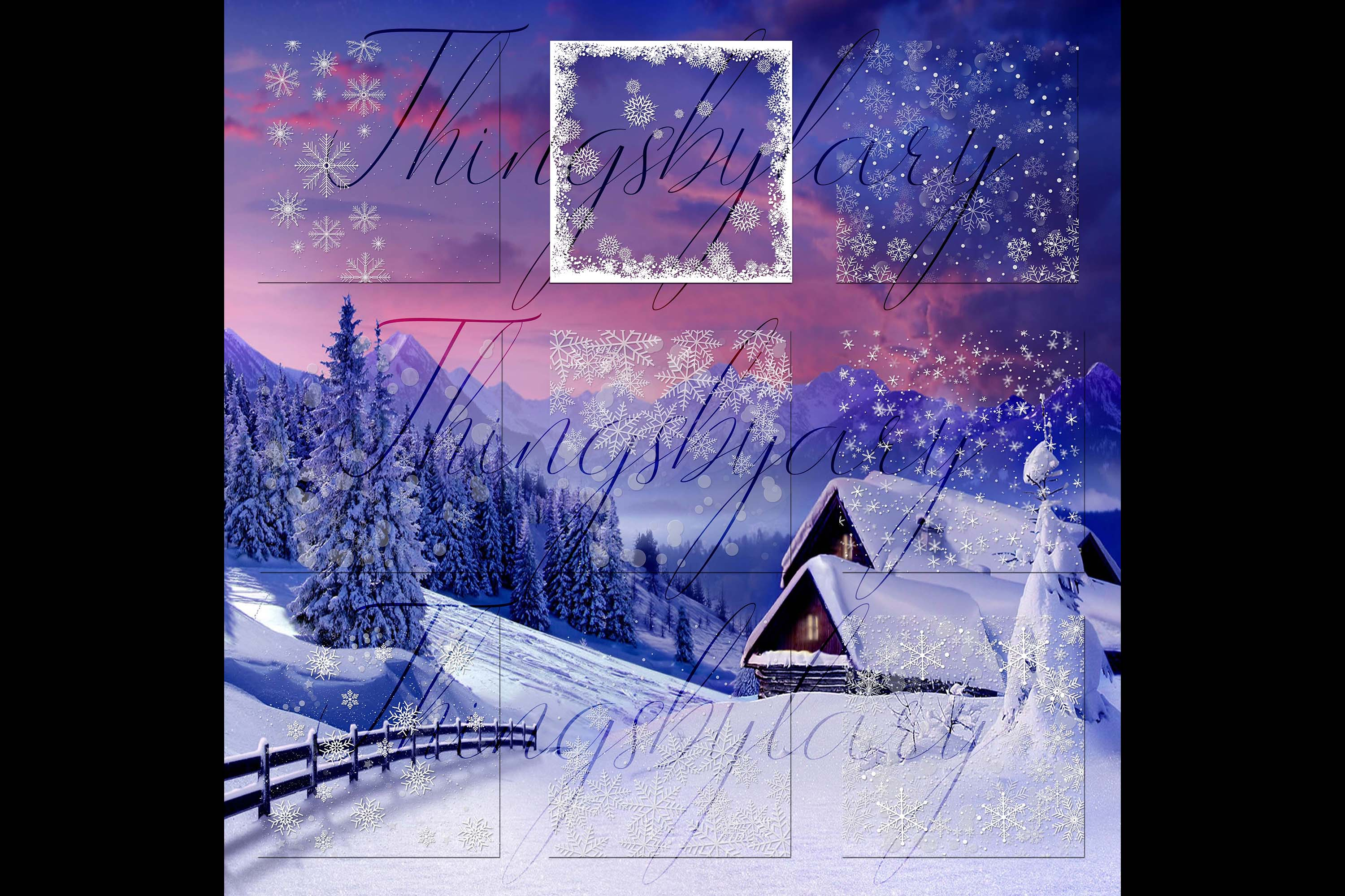 27 Falling Snowflakes Overlay Digital Images PNG Transparent example image 8