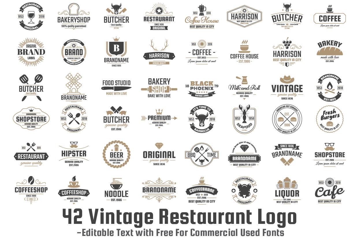 42  Vintage Logo Set example image 1