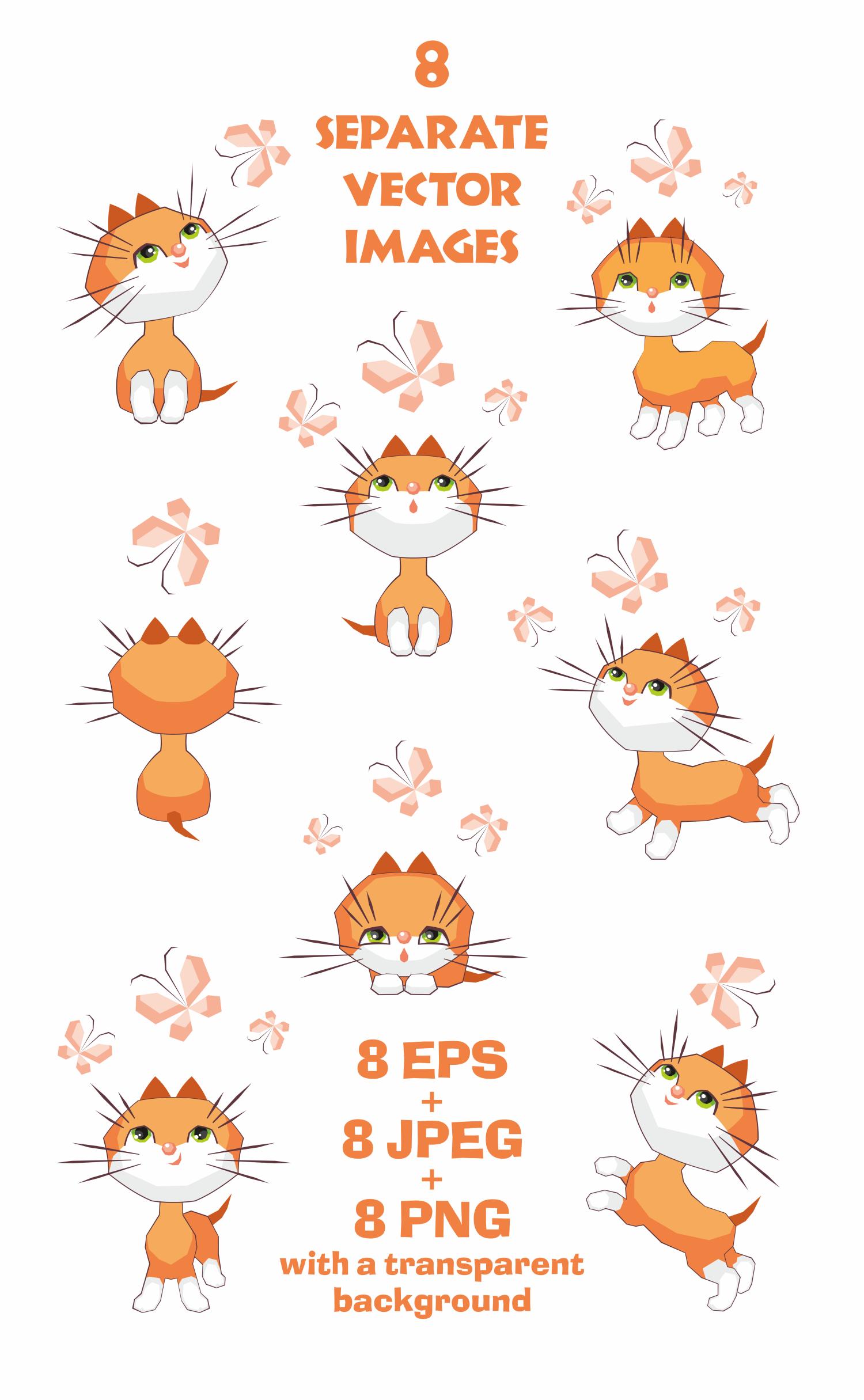 Funny little kittens. Vector clip art. example image 2
