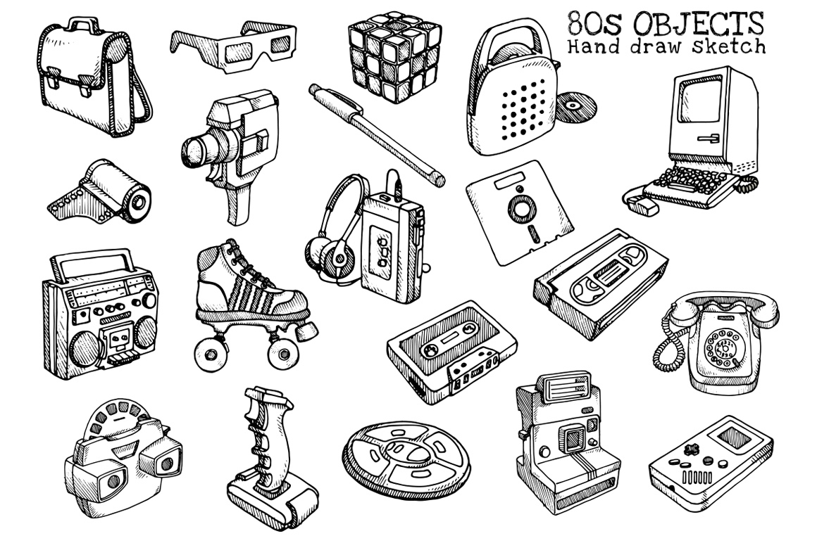 80s Objects hand draw vector example image 2