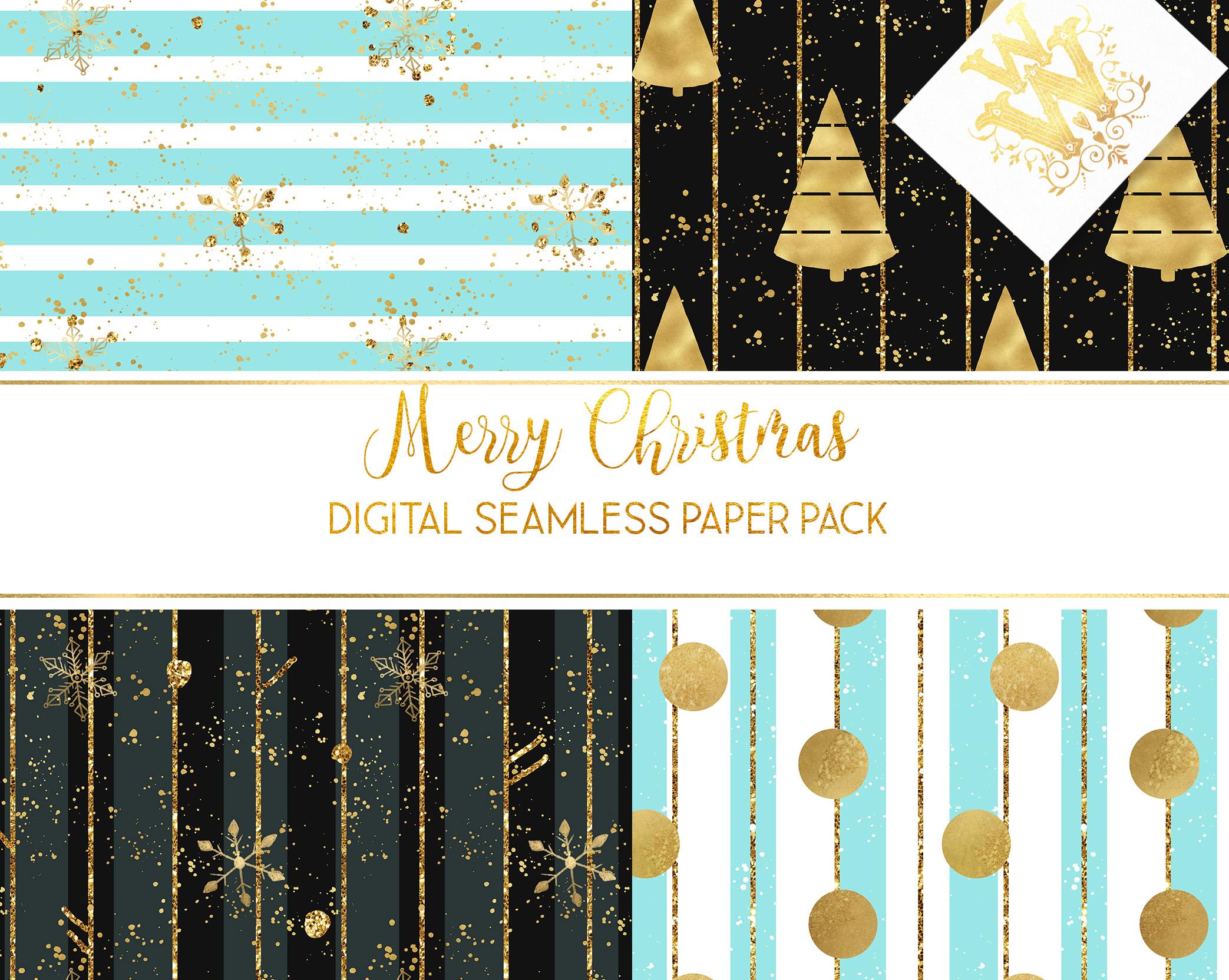 Christmas digital paper pack, seamless pattern snowflake example image 4