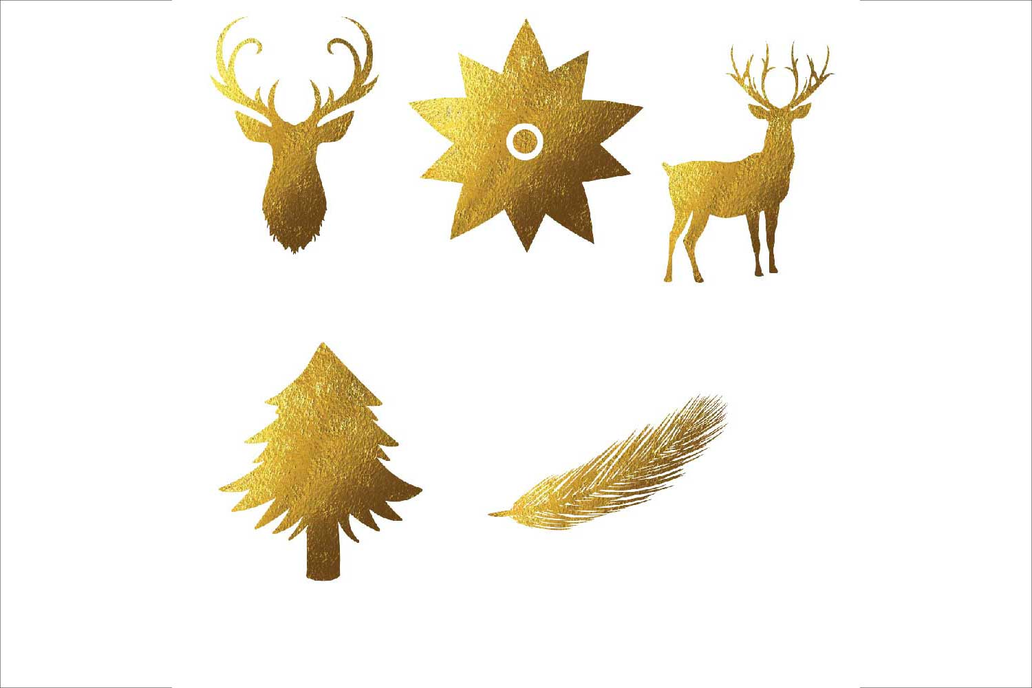 Gold Foil Christmas Clipart example image 2