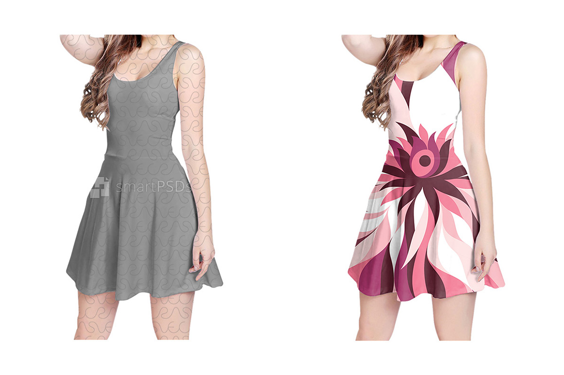 Feminine Sleeveless Dress Design Mockup of Sublimation Cloth Printing - 4 Views example image 1