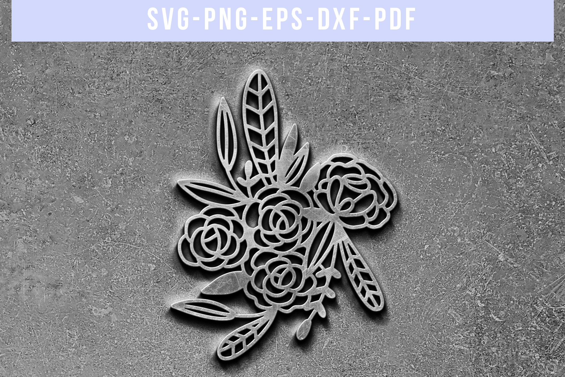 Floral Rose Papercut Template, Flower Arrangement SVG, PDF example image 5