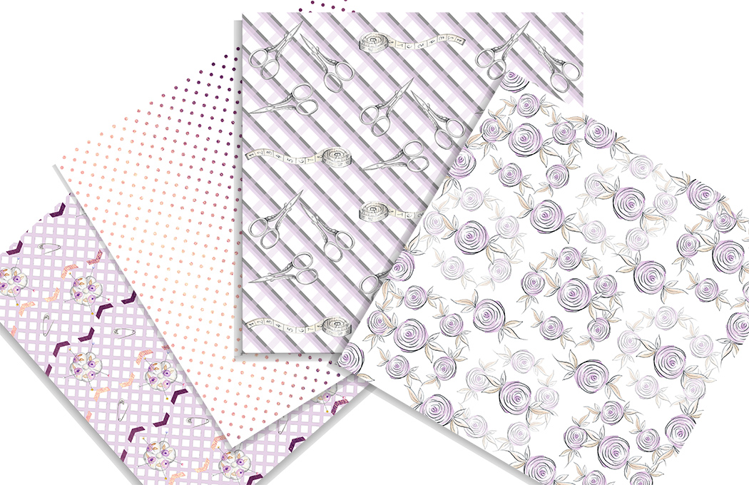 Vintage style Sewing Digital Papers. 12 papers with gold foil elements. example image 4
