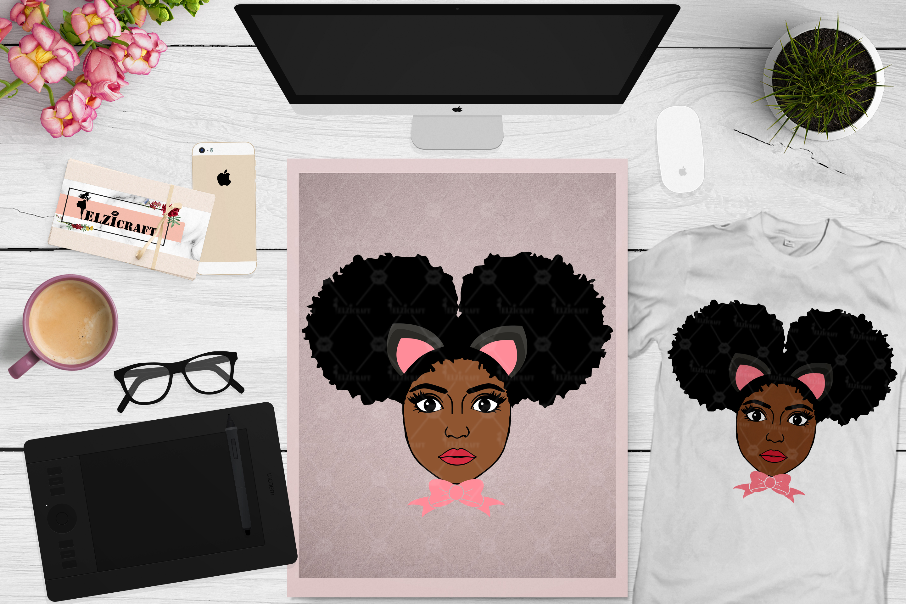 Afro Girl, Afro Puff, Kitten, Kitty, Bow Tie SVG Cut File example image 1