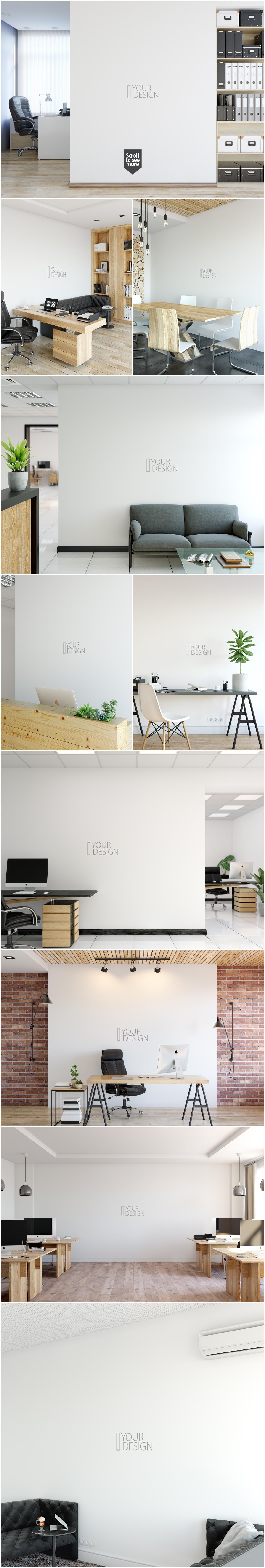 OFFICE Wall Mockup Bundle example image 2