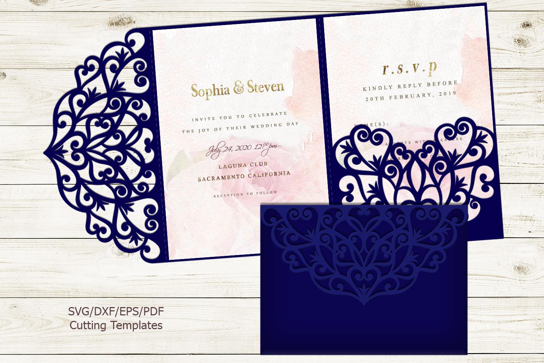 Trifold wedding invitation svg dxf pdf laser cut cricut file example image 1