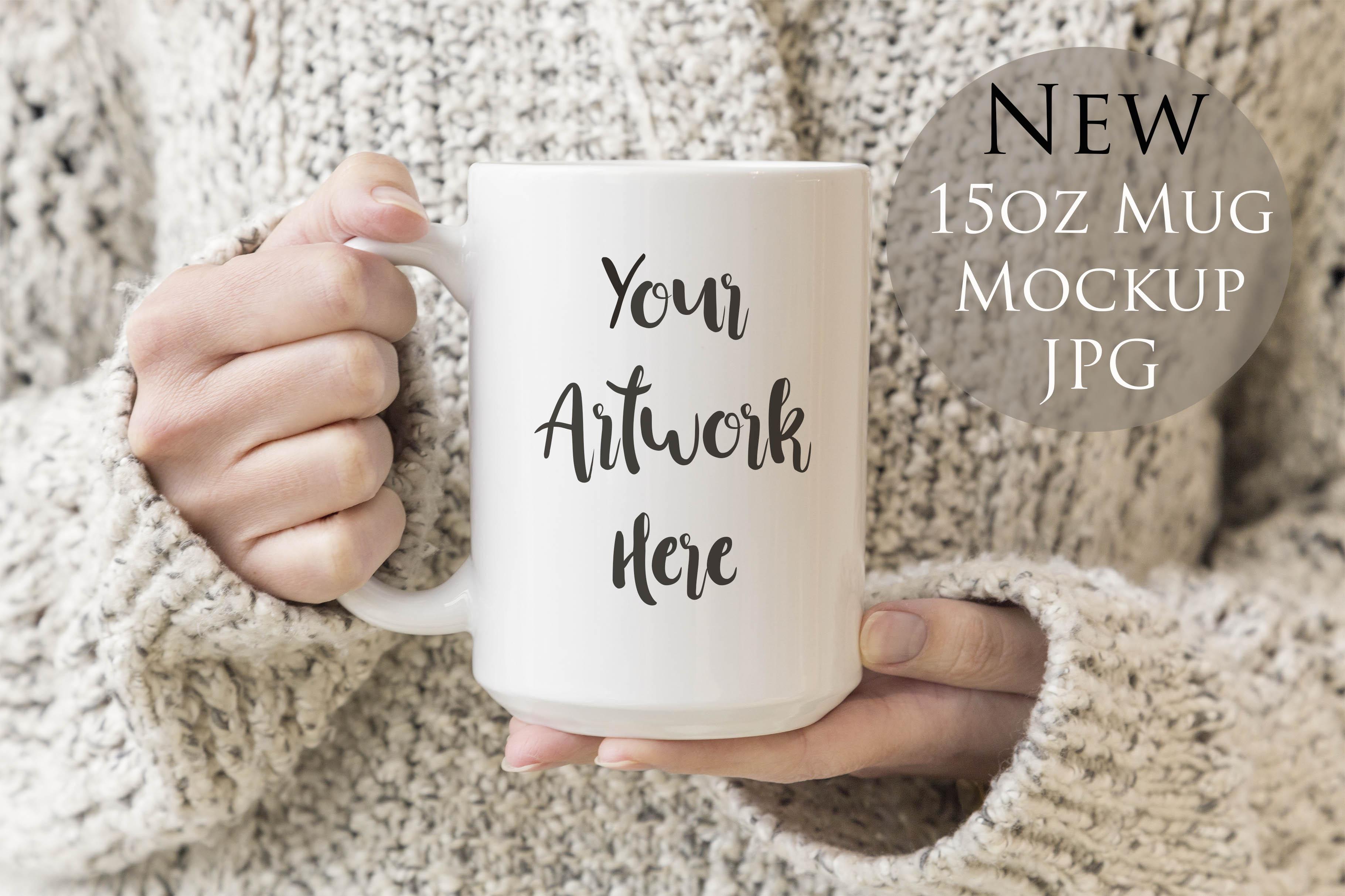 15oz Mug Mockup- Woman holding mug example image 1