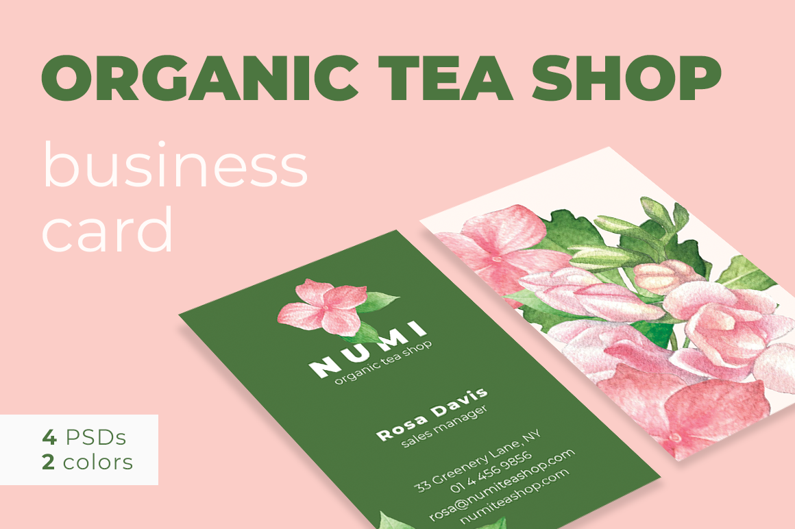 Organic Tea Shop Business Card example image 1