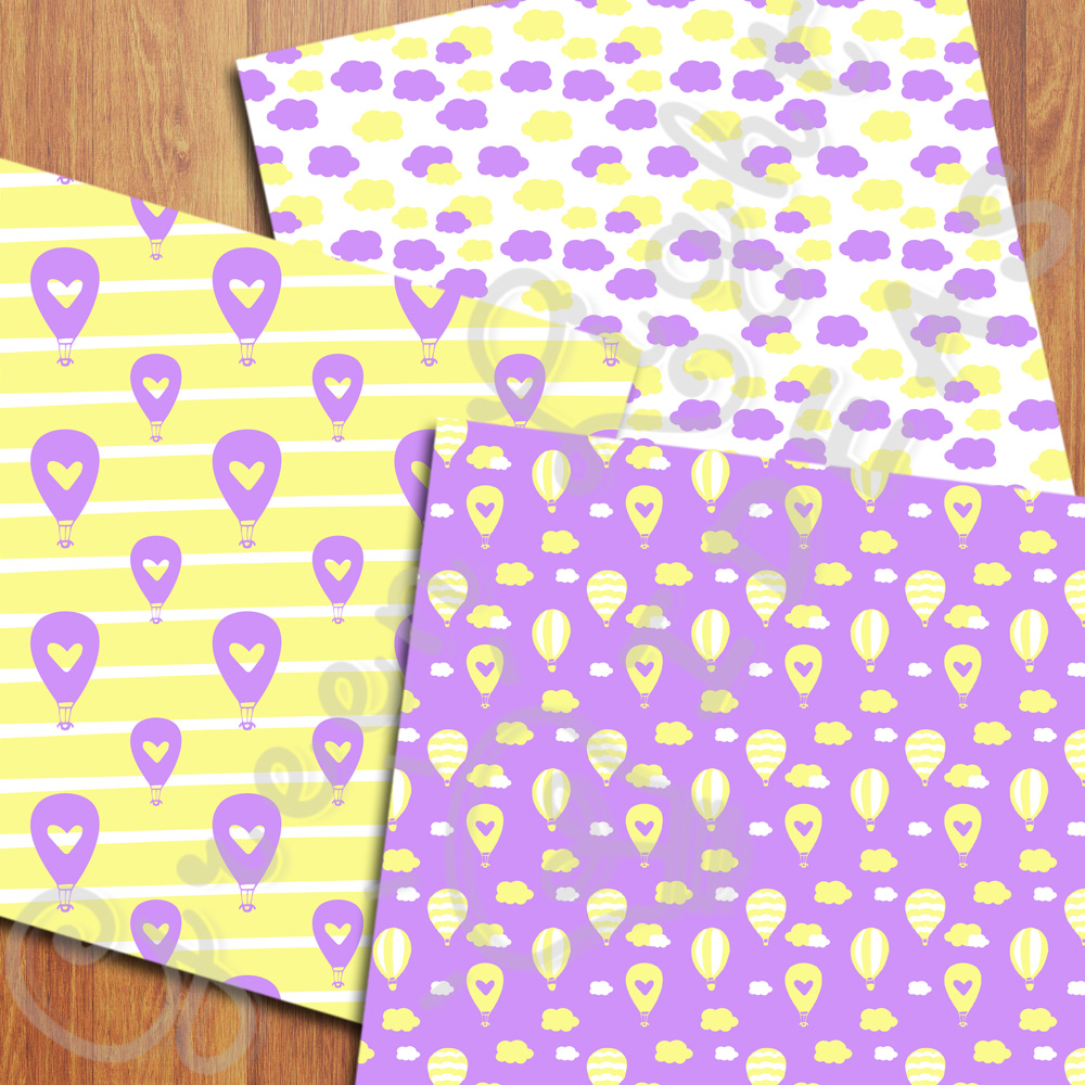 Purple and Yellow Hot Air Balloons Digital Papers example image 4
