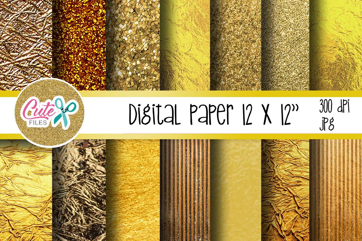 Gold metalic digital paper example image 1