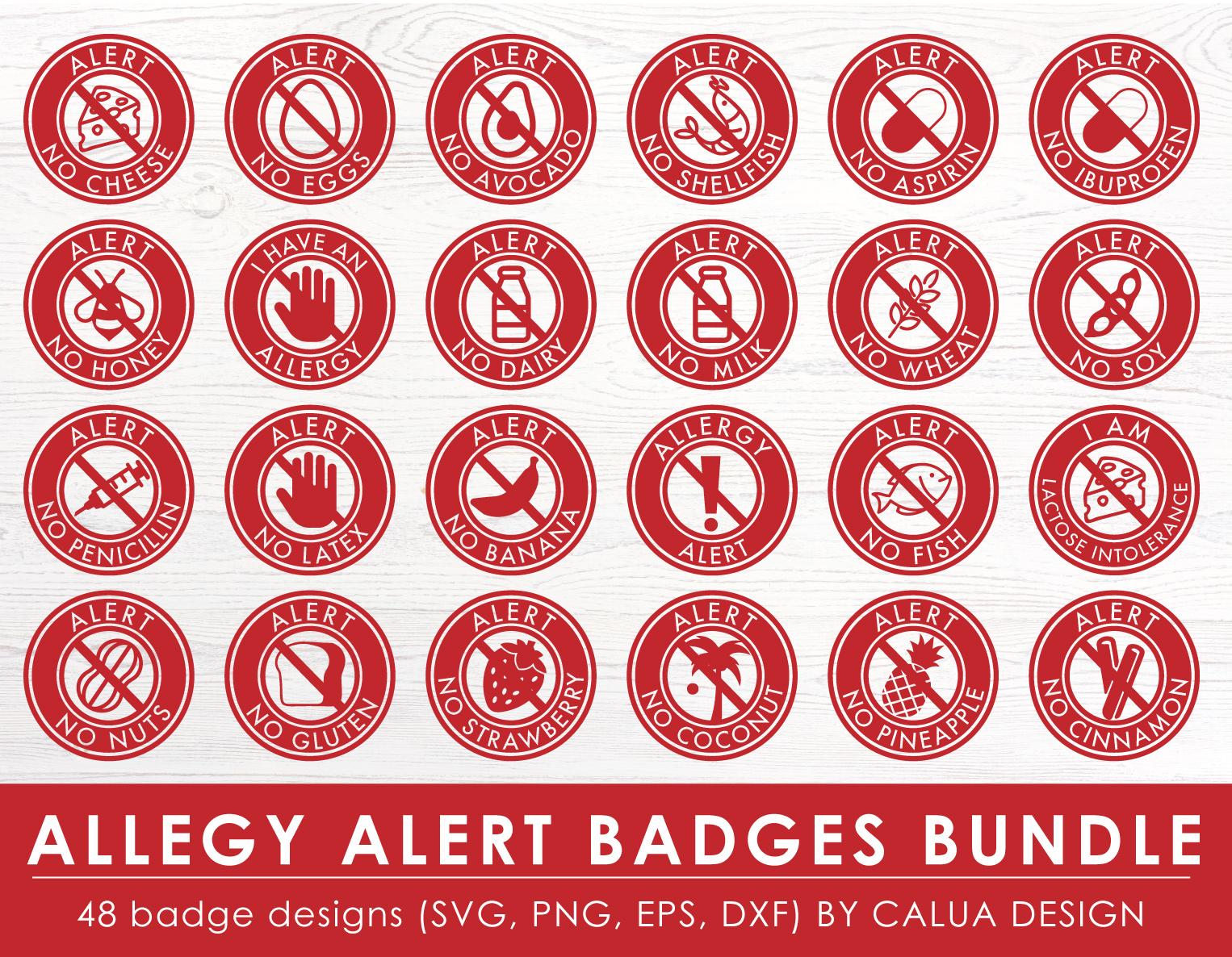 Allergy Alert Badges SVG Cut File Bundle example image 2