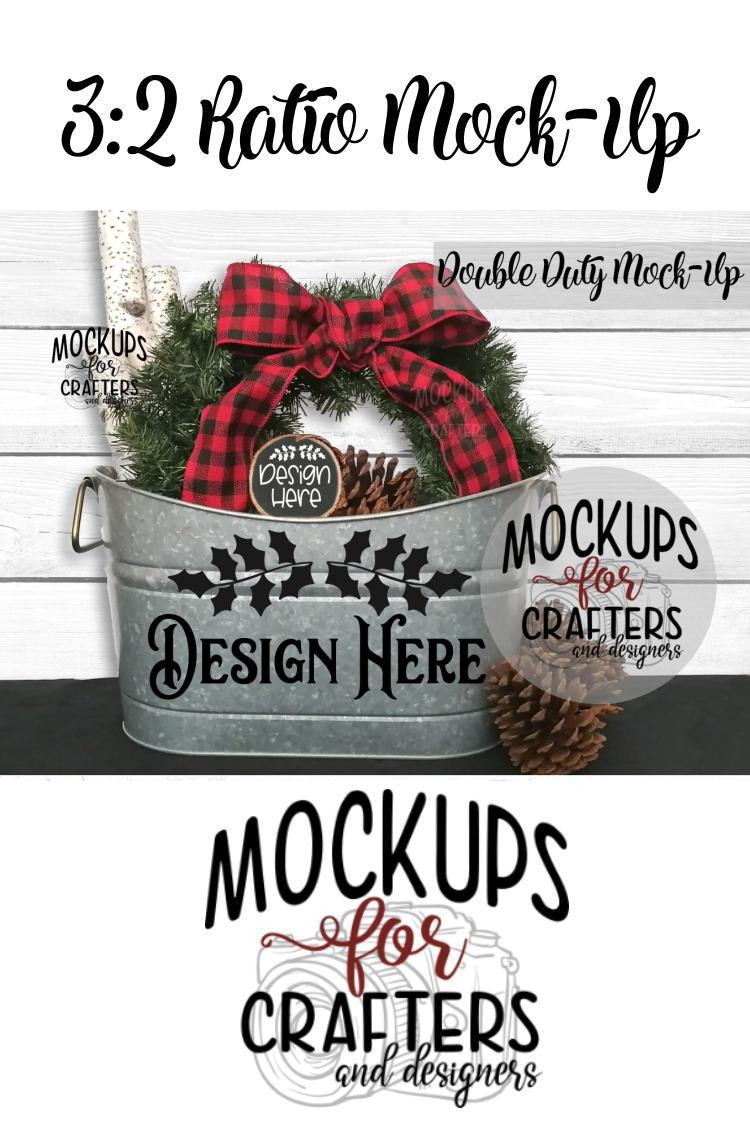 Christmas Double Duty Mock-Up - Planter & Wood Ornament example image 2