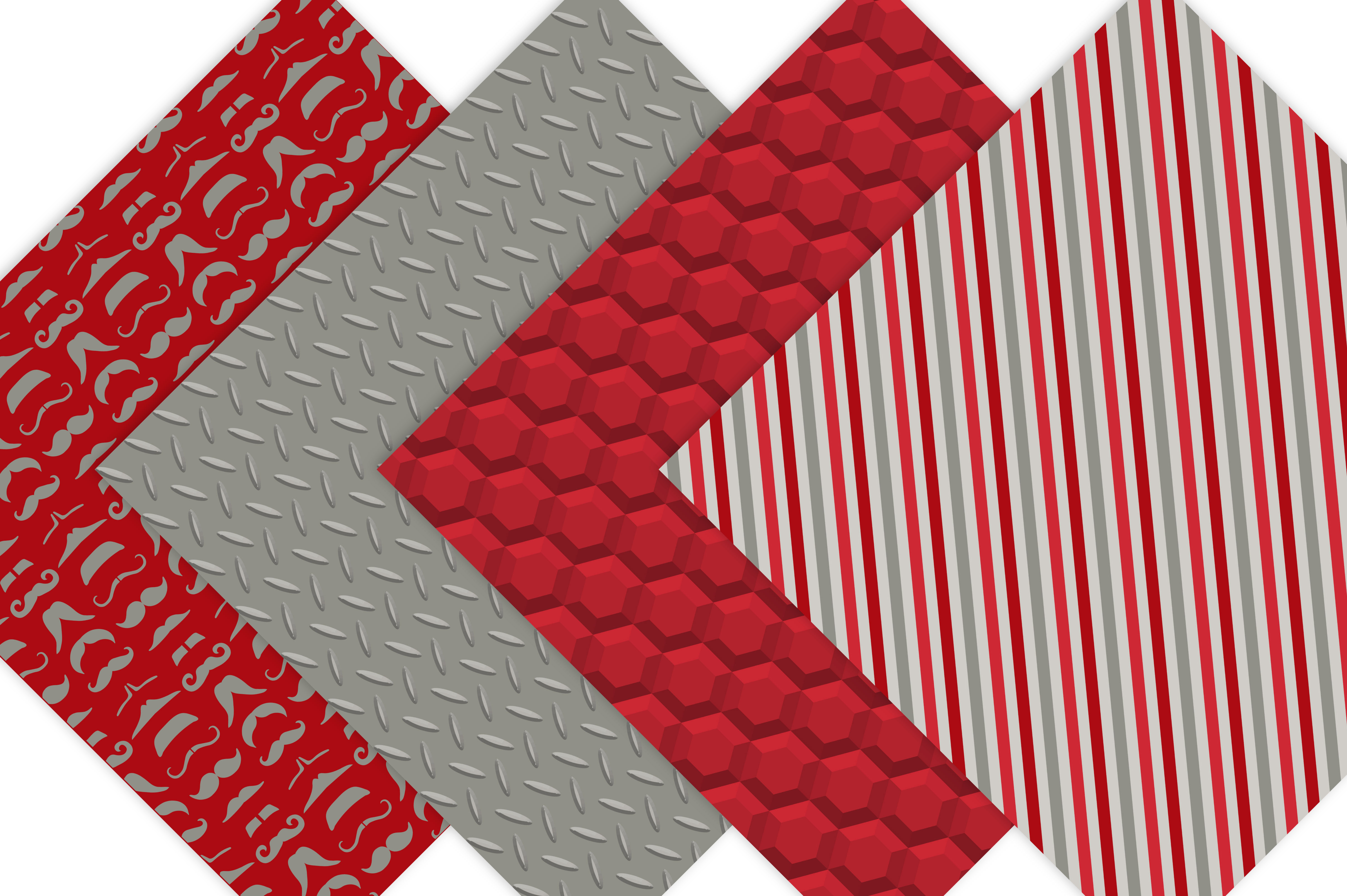 Father's Day Digital Paper Patterns - Red example image 3