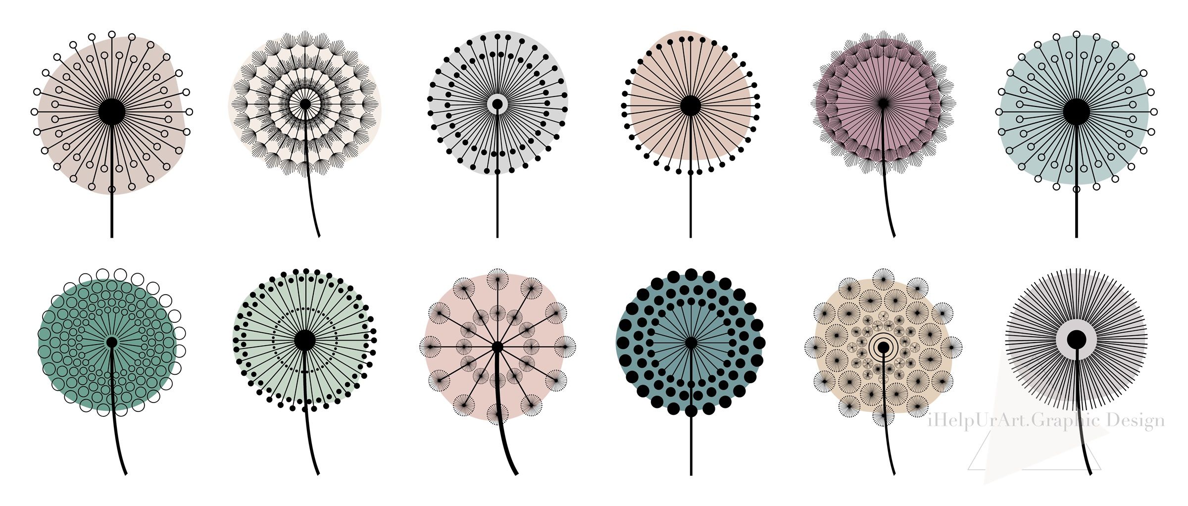 Dandelion Clipart - Floral Design - Modern Abstract Flowers example image 5