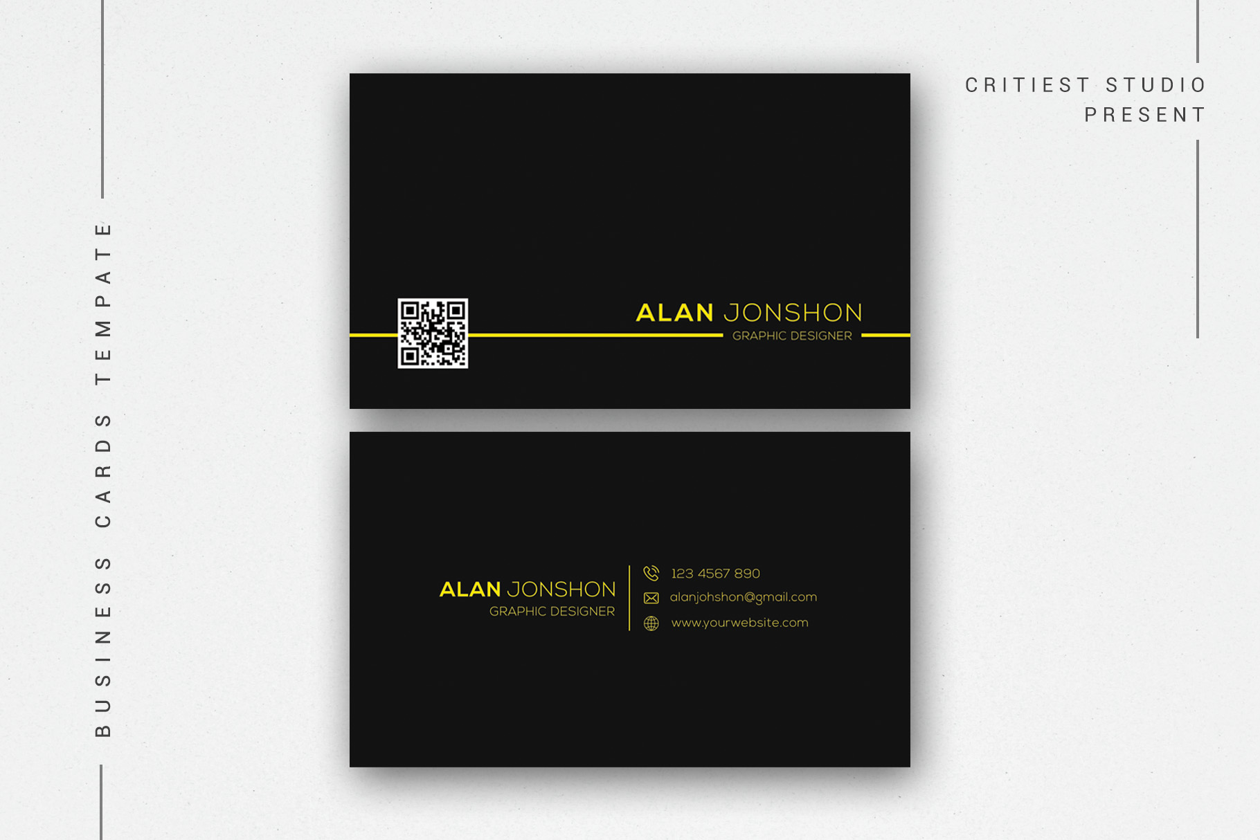 Simple Black Business Cards example image 1