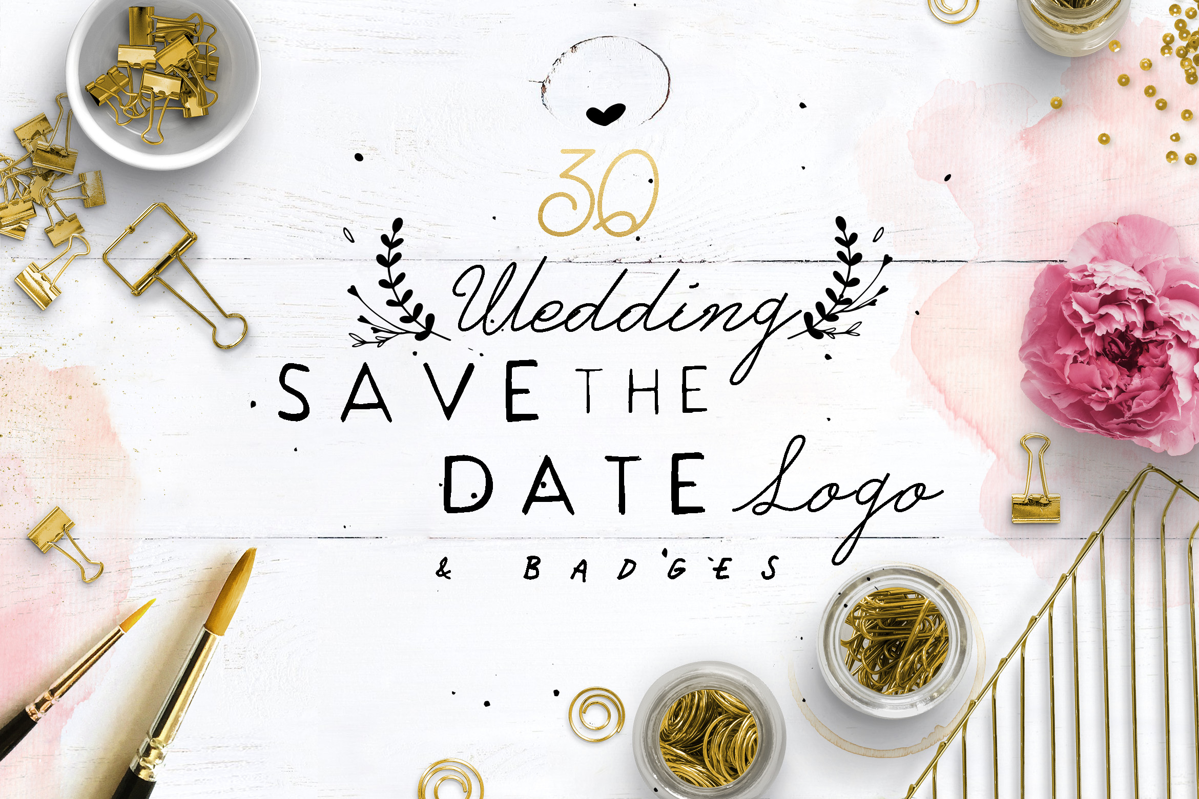 30 Save the Date Wreath Logo example image 1