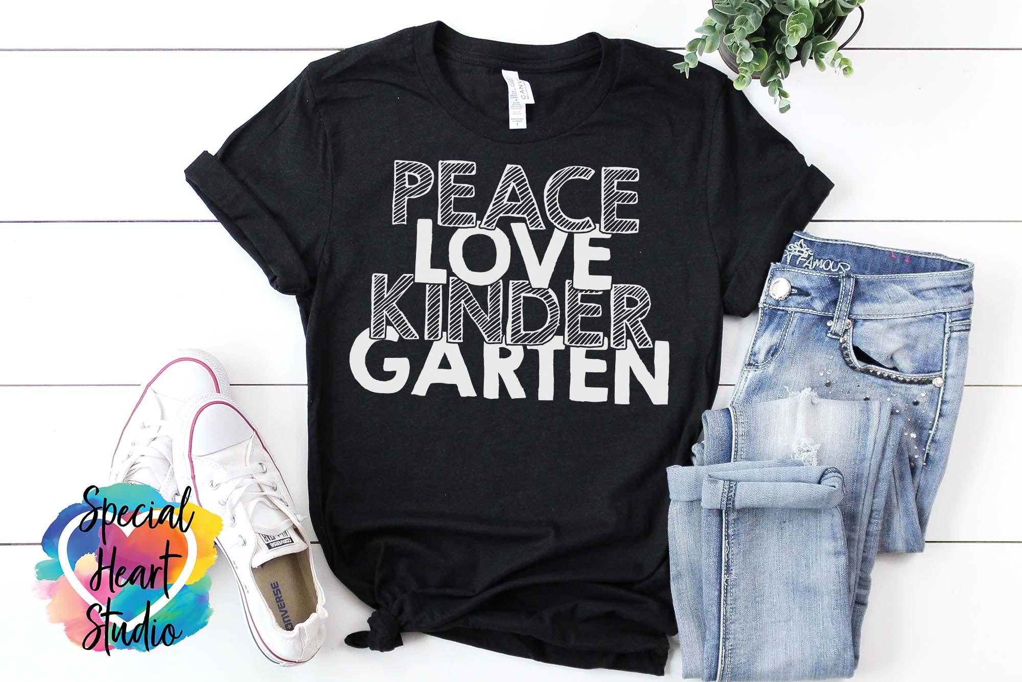 Peace Love Kindergarten - A School or Teacher SVG Cut File example image 3