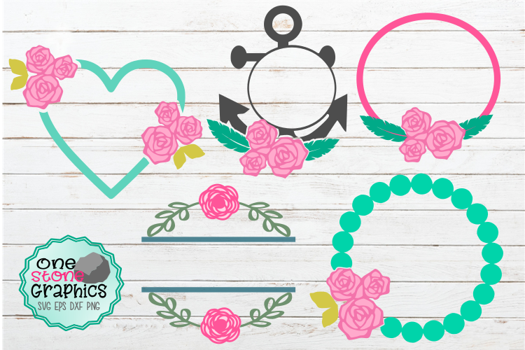 Spring monogram bundle svg,flower monogram,anchor monogram example image 1