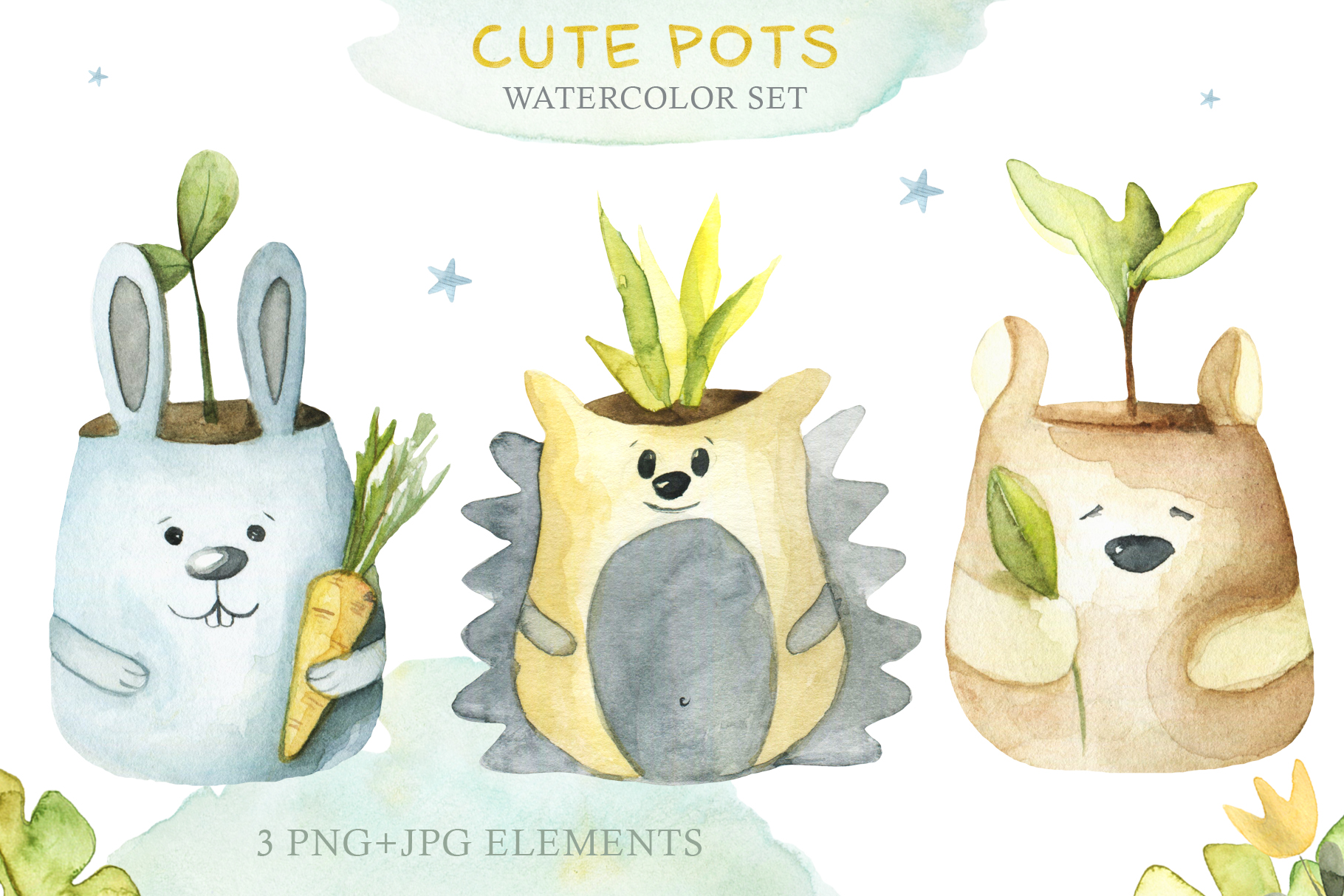 Watercolor Set Cute Pots example image 2