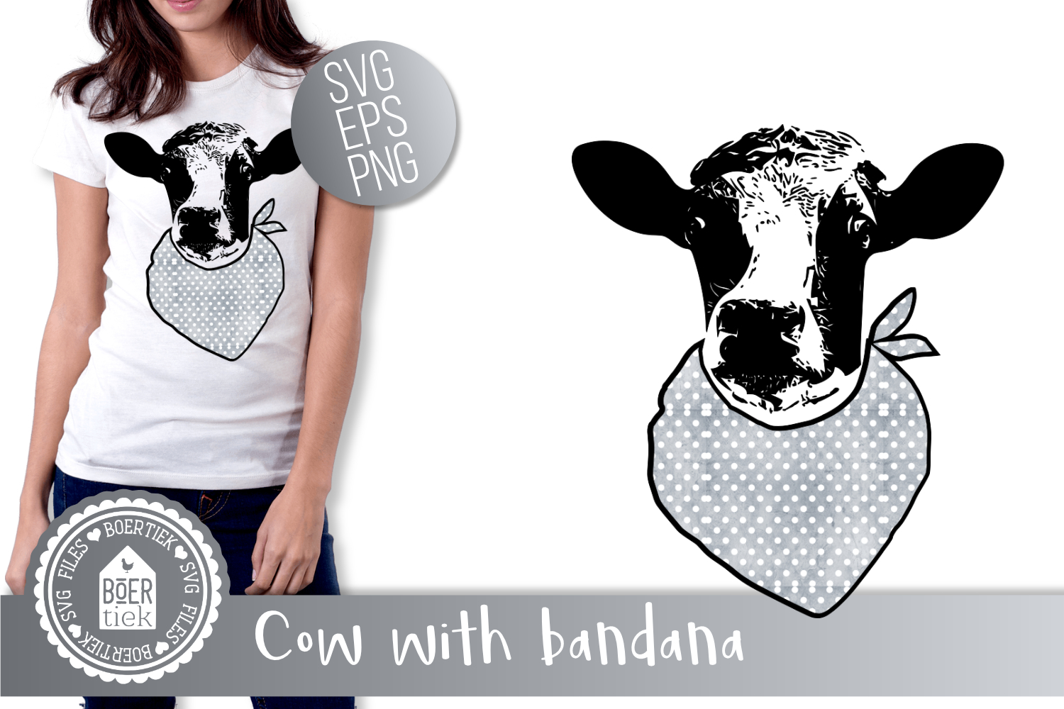 Cow with bandana, SVG cutting file example image 1