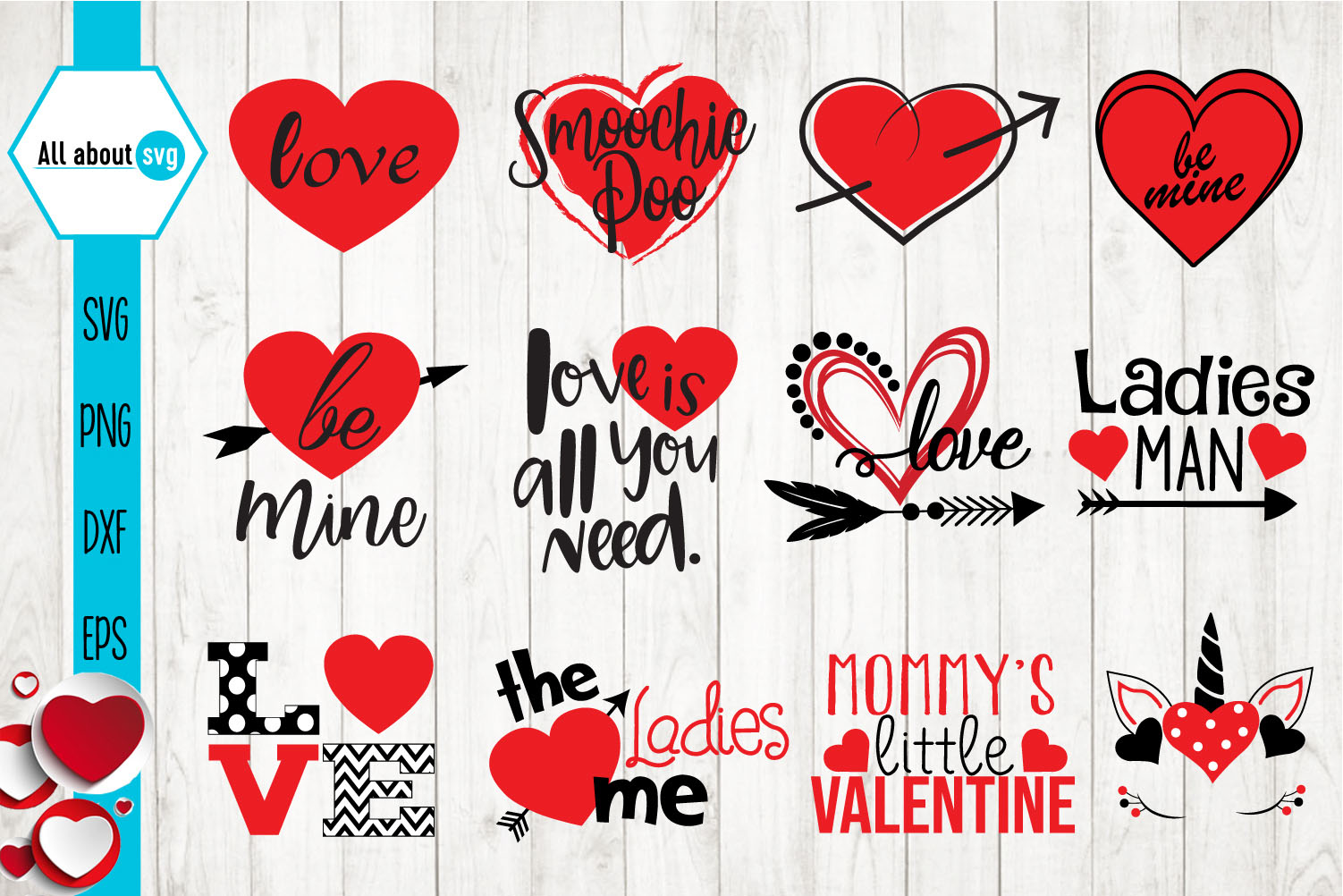 Valentines Day Svg, Love Quotes Bundle Svg example image 1