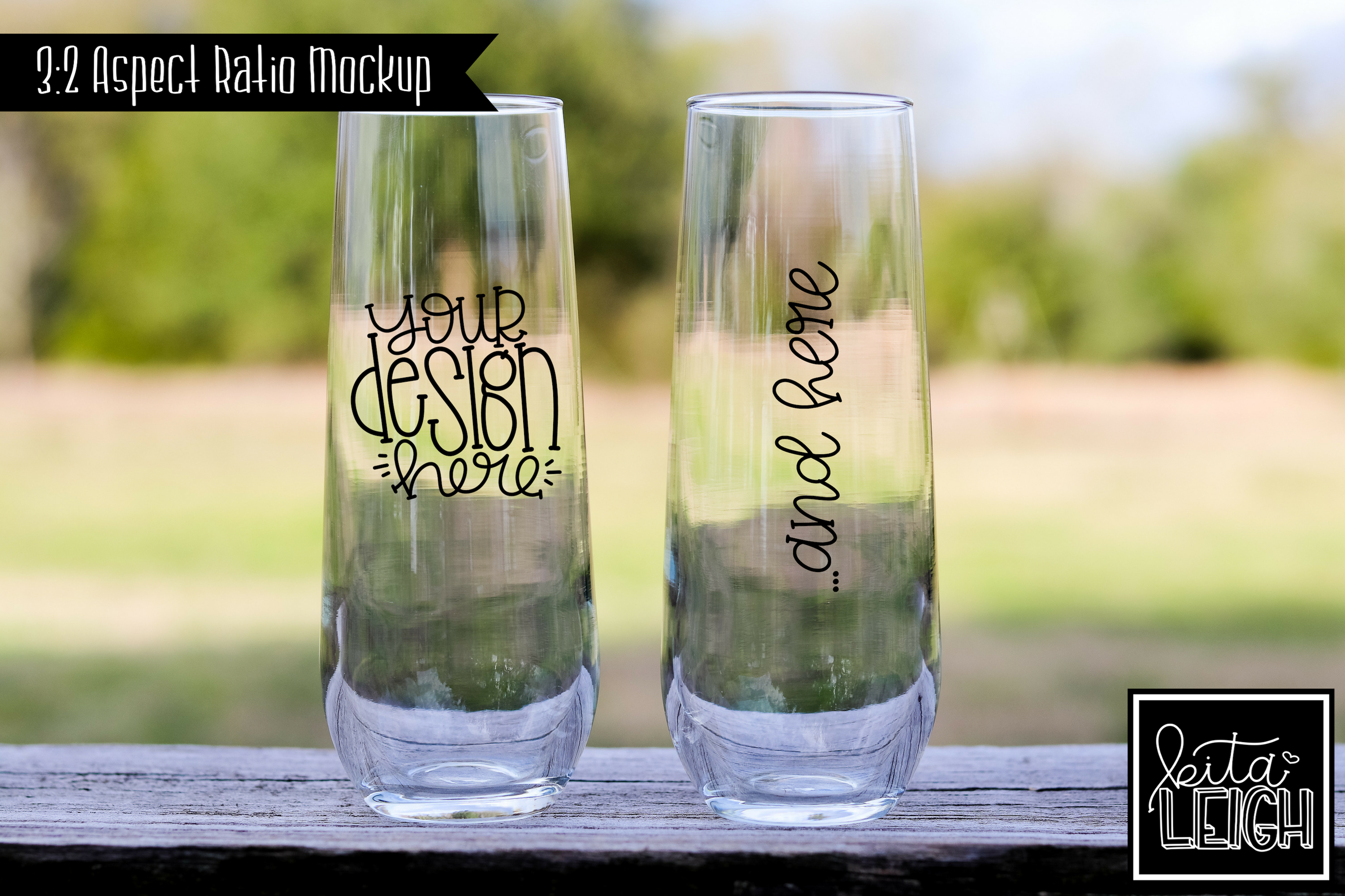 Bride and Groom Champagne Flute Rustic Wedding Mockup example image 1