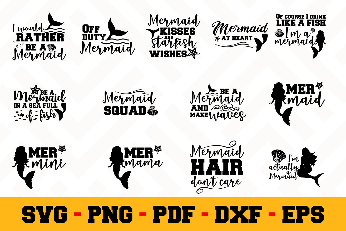 Mermaid 13 Designs Pack   Mermaid SVG Bundle example image 1