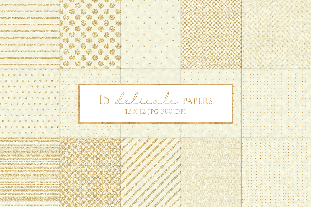 15 Gold Glitter Stripe and Dot Digital Paper Pack example image 1