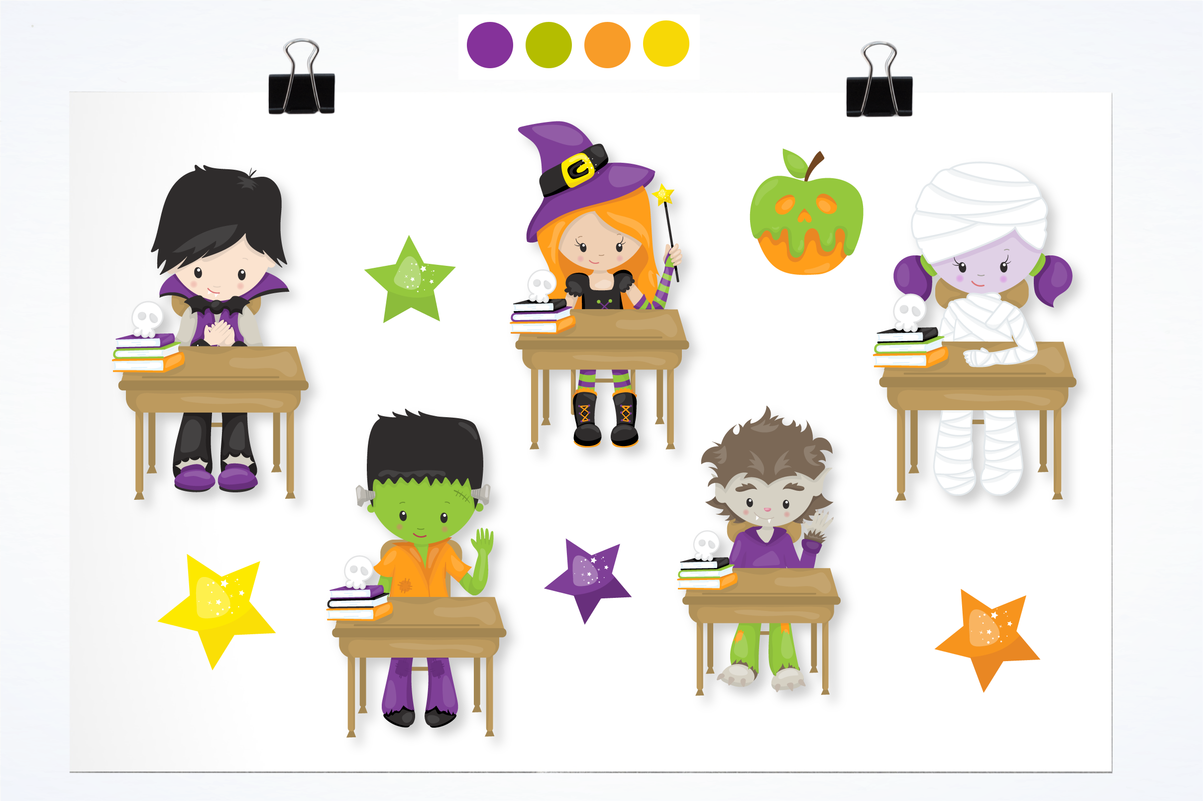 halloween school kids graphics and illustrations example image 2