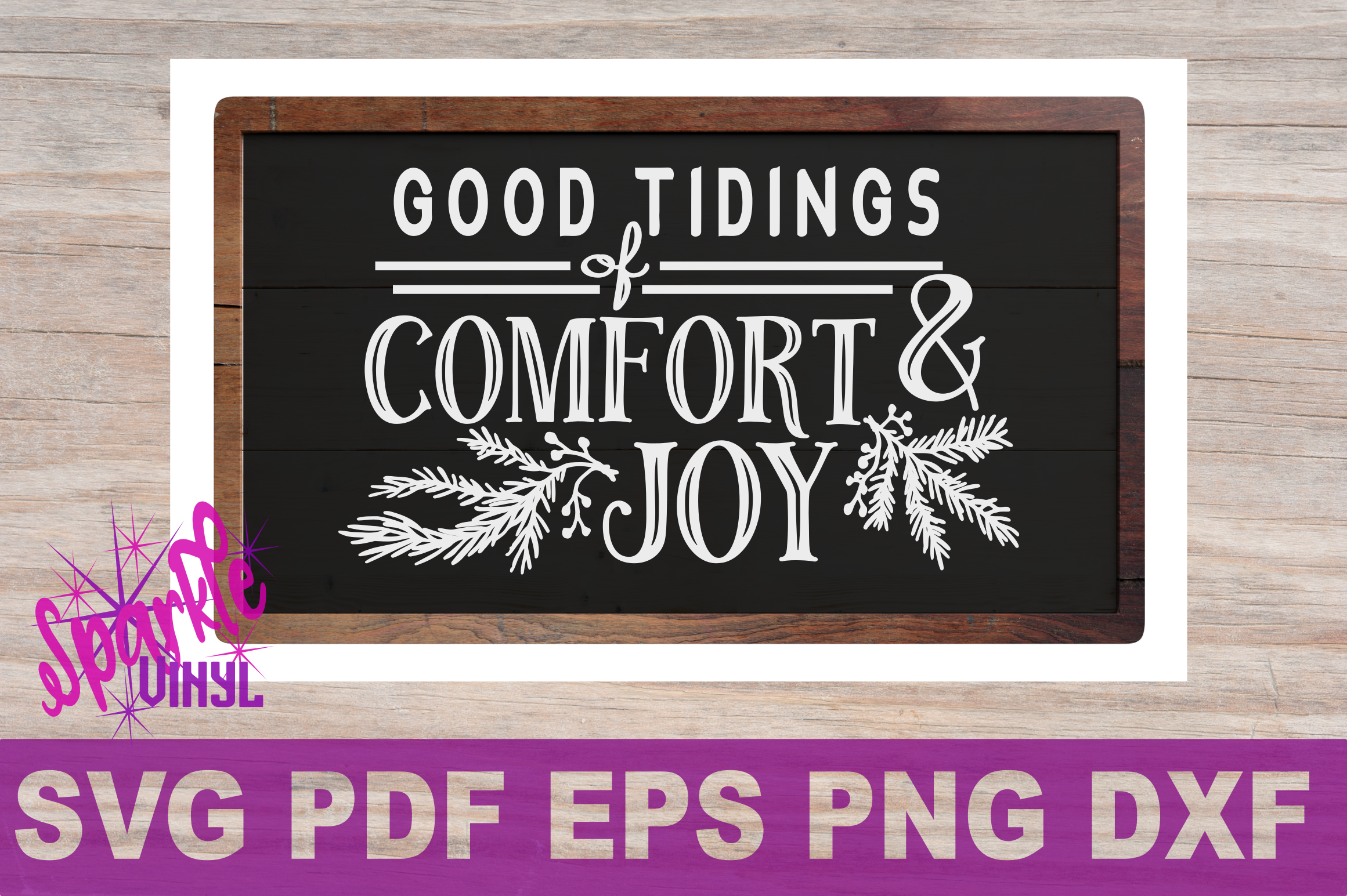 SVG Christmas Comfort and Joy DIY Sign stencil farmhouse example image 2