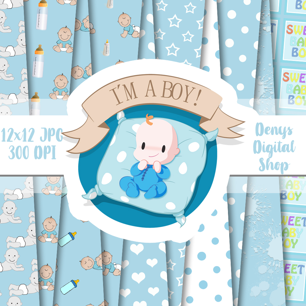 Baby Boy, Baby Shower, Blue Baby Patterned, Scrapbook,50OFF example image 2
