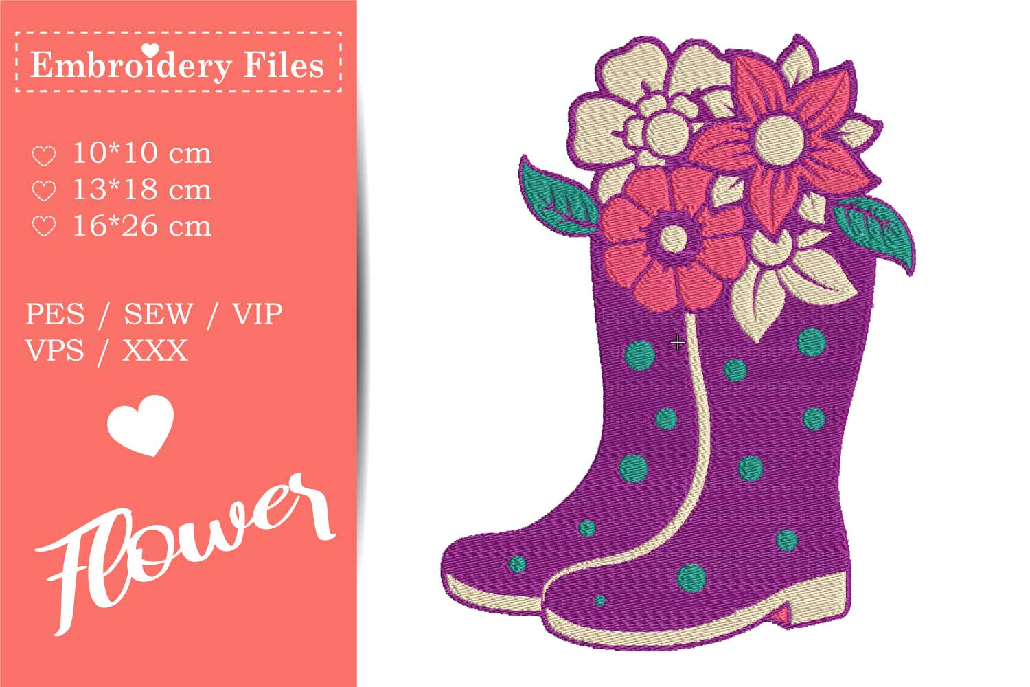 Rubber Boots with Flowers - Embroidery File example image 2