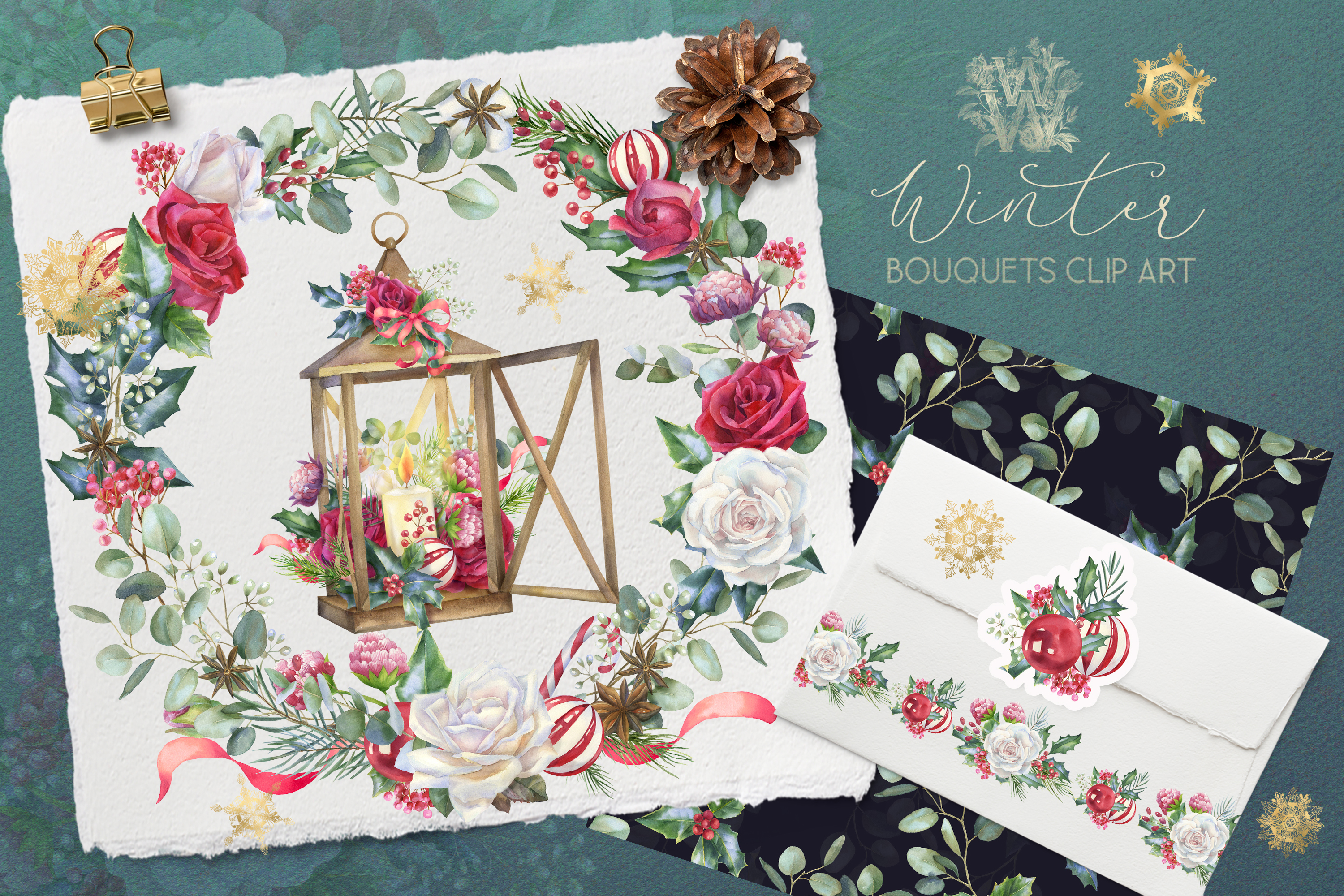 Christmas floral border clipart, Watercolor winter frame example image 1