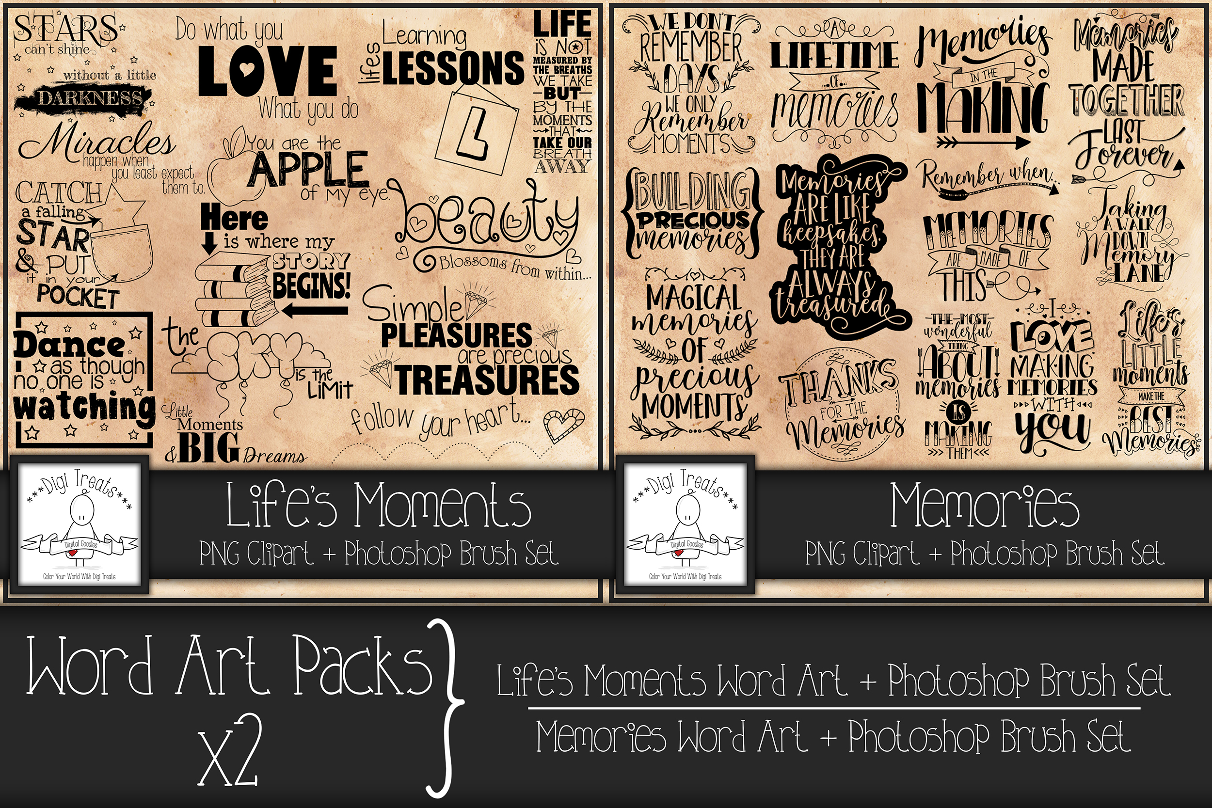 Word Art Packs x 2. Life's Moments and Memories. example image 1