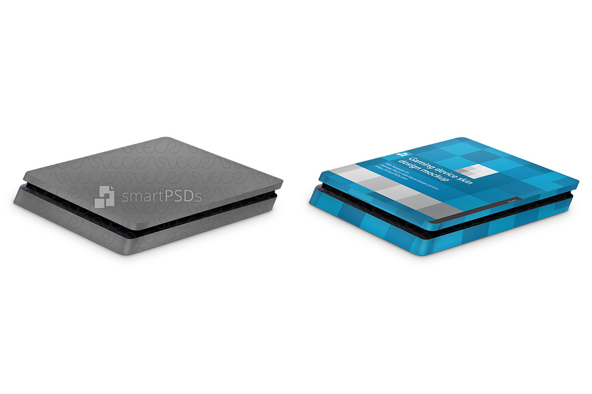 PS4 Slim Console Skin Design Template- 3 Views example image 2