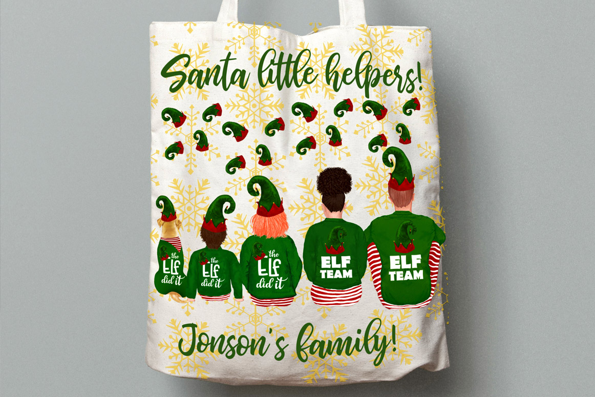 Christmas family clipart, Elf hat, Santa little helpers example image 4
