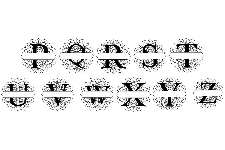 SPLIT MONOGRAM MANDALA LETTERS A-Z Alphabet svg