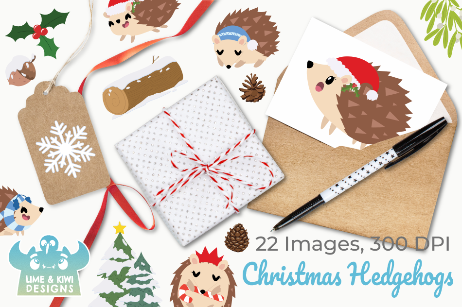 Christmas Hedgehogs Clipart, Instant Download Vector Art example image 4