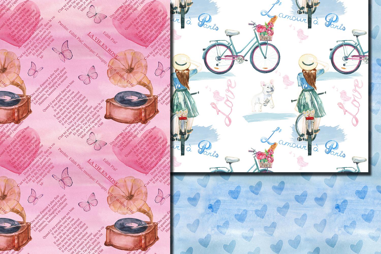 Watercolor Bonjour Paris seamless digital paper pack example image 2