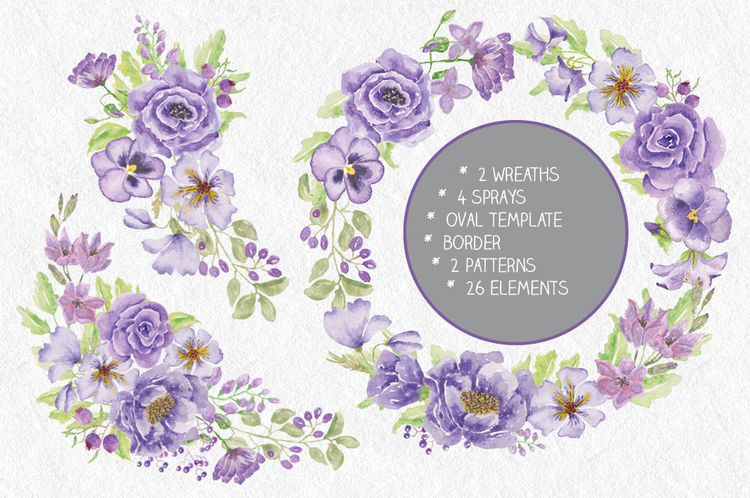Watercolor clip art bundle: 'Purple Passion' example image 2