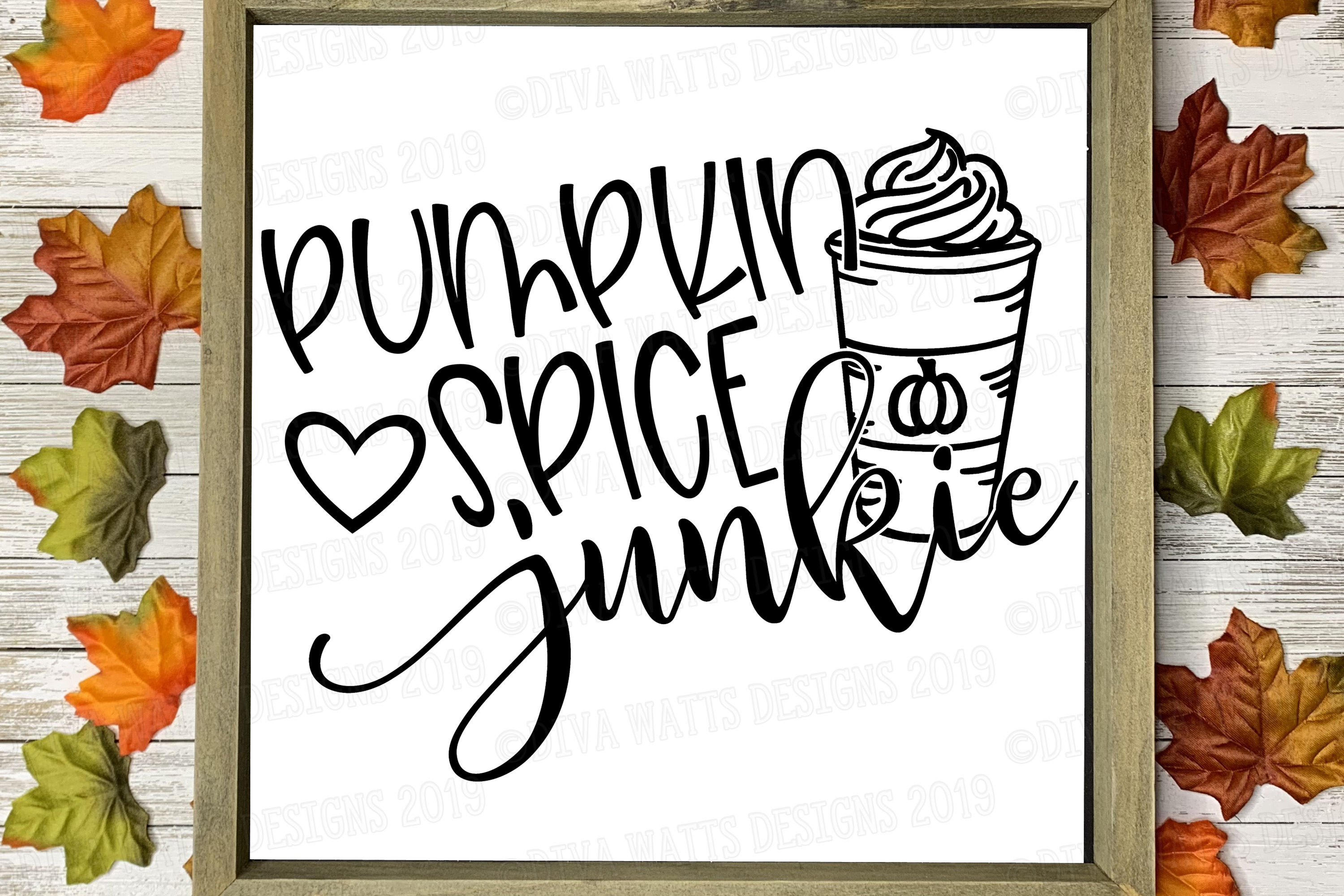 Pumpkin Spice Junkie With Latte and Heart Fall Cutting File example image 3