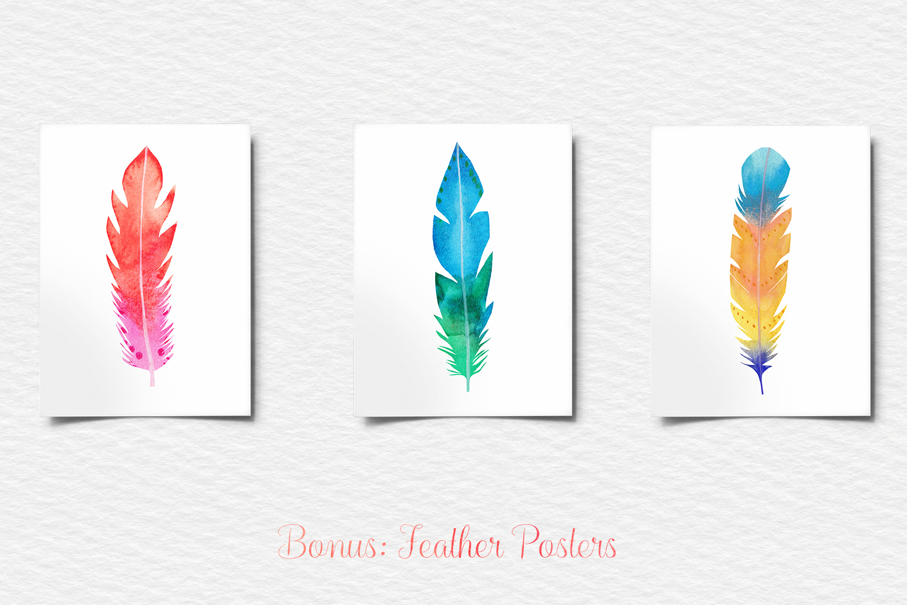 Watercolor Feathers Clipart, Watercolor Feather Illustration example image 6