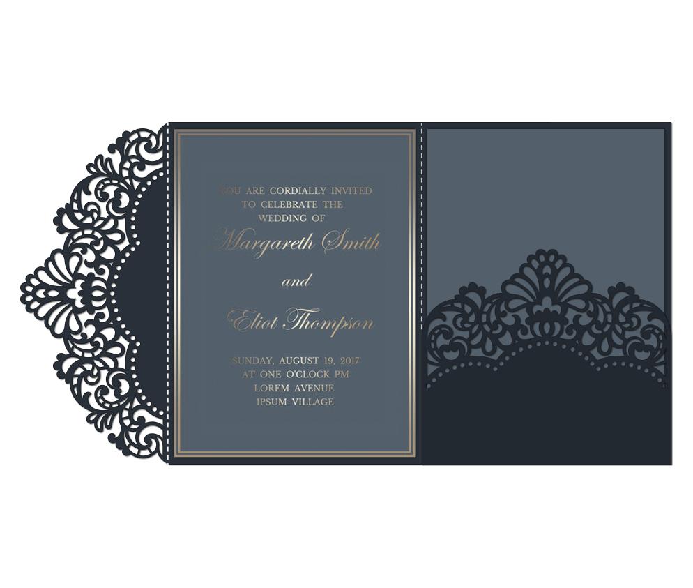 Laser cut wedding invitation, 5x7, Cricut Template, Tri Fold example image 3