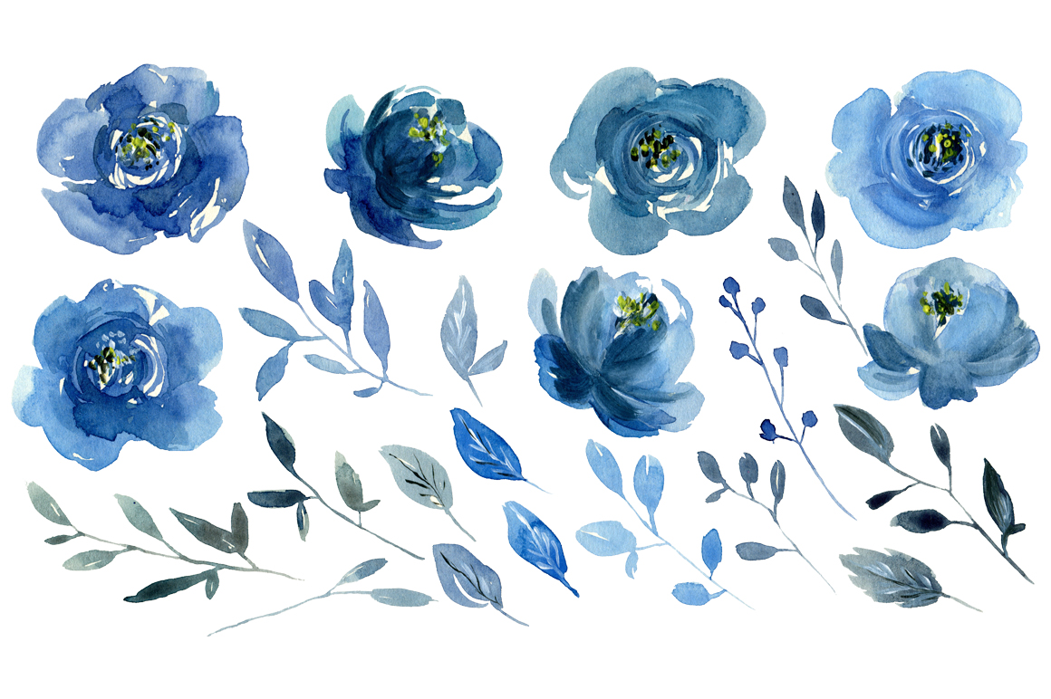 Watercolor indigo blue flowers roses, bouquets and a wreath example image 2