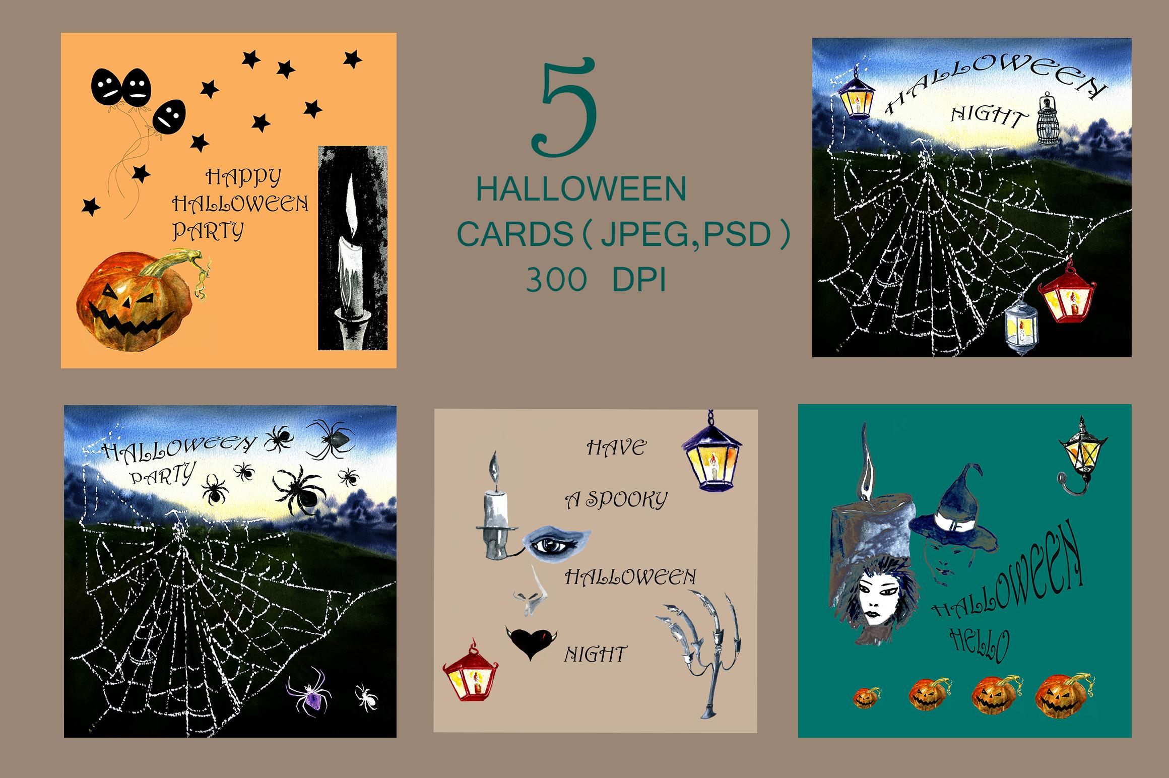 Set of watercolor Halloween example image 3