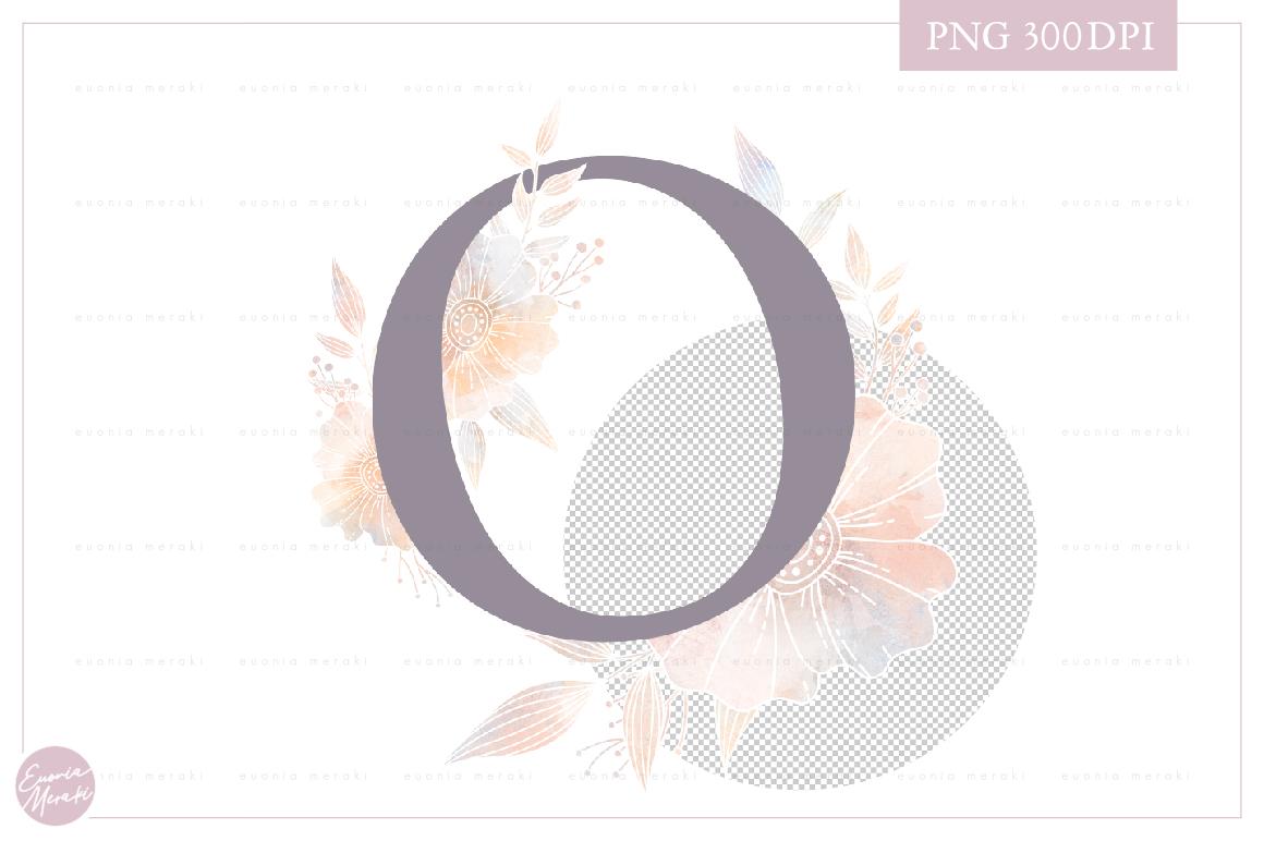 Letter O Floral MONOGRAM - elegant wedding flower initial example image 2